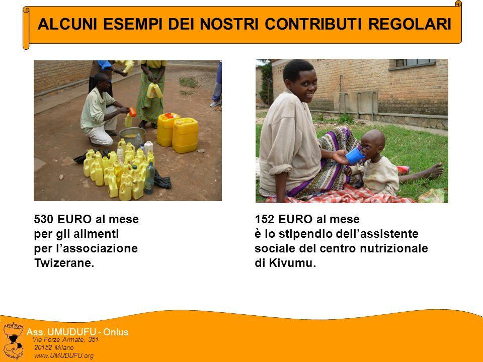 Ass. UMUDUFU - Onlus Via Forze Armate, 351 20152 Milano www.UMUDUFU.org 530 EURO al mese per gli alimenti per lassociazione Twizerane. 152 EURO al mes