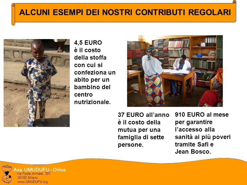 Ass. UMUDUFU - Onlus Via Forze Armate, 351 20152 Milano www.UMUDUFU.org ALCUNI ESEMPI DEI NOSTRI CONTRIBUTI REGOLARI 4,5 EURO è il costo della stoffa