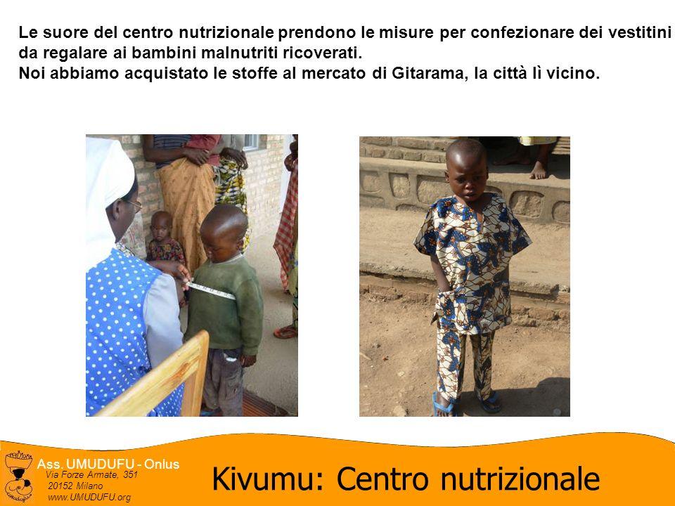 Ass. UMUDUFU - Onlus Via Forze Armate, 351 20152 Milano www.UMUDUFU.org Le suore del centro nutrizionale prendono le misure per confezionare dei vesti