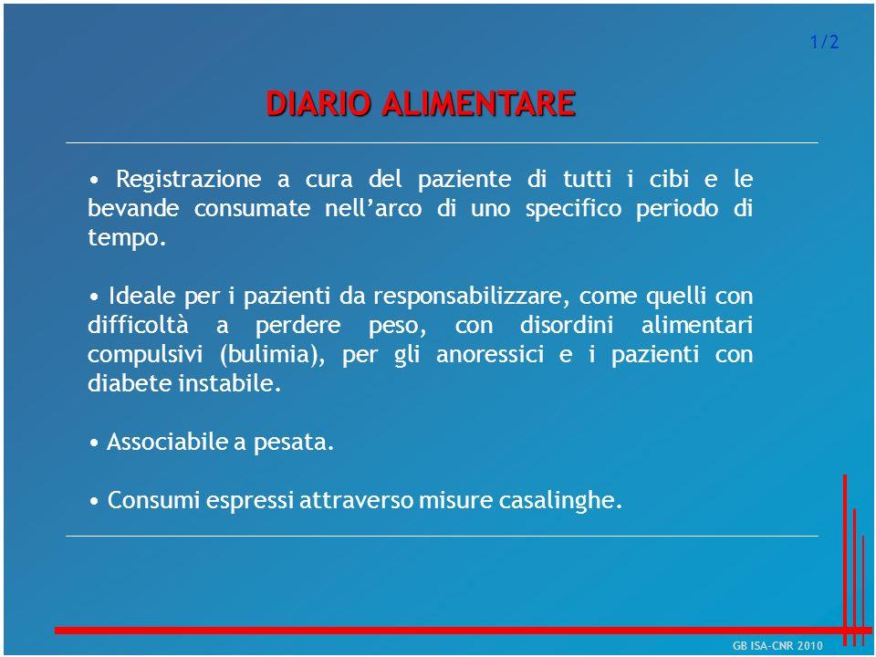 DIARIO ALIMENTARE Registrazione a cura del paziente di tutti i cibi e le bevande consumate nellarco di uno specifico periodo di tempo. Ideale per i pa
