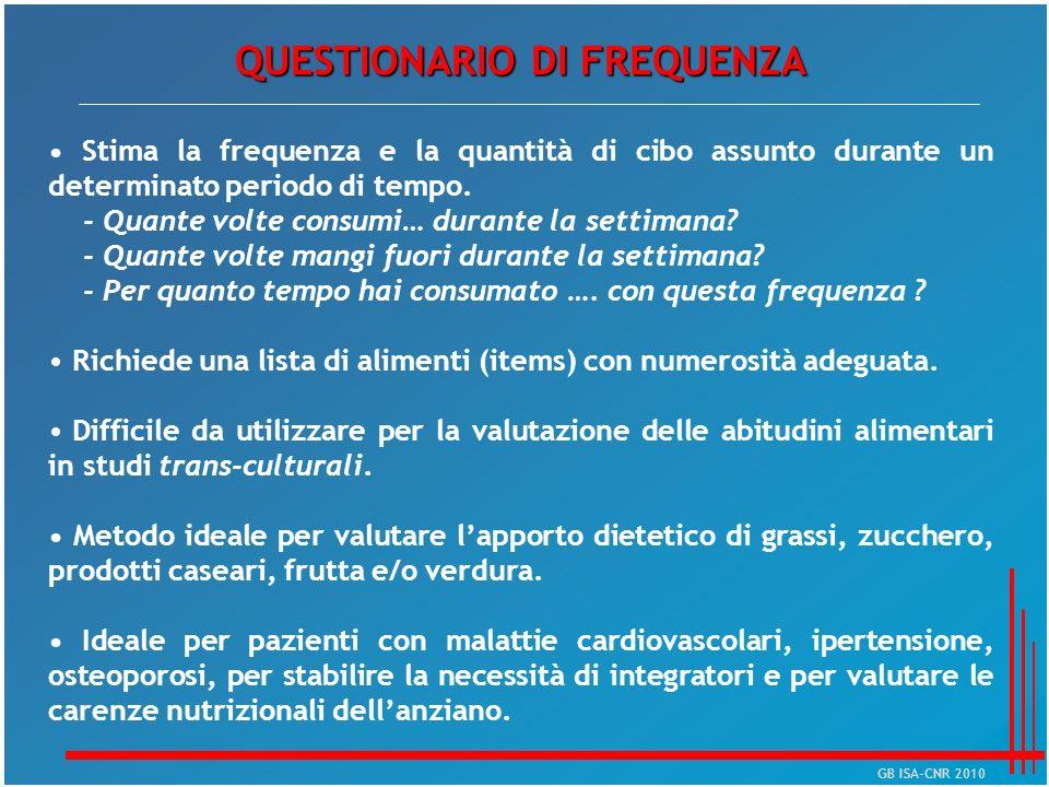 QUESTIONARIO DI FREQUENZA Stima la frequenza e la quantità di cibo assunto durante un determinato periodo di tempo. - Quante volte consumi… durante la