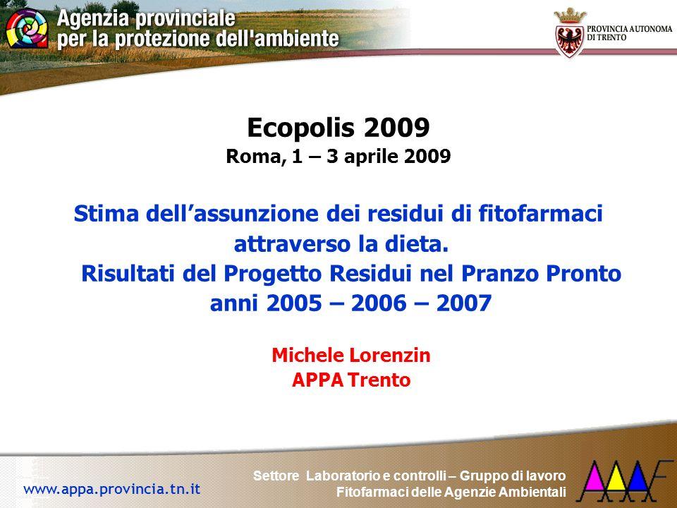 Settore Laboratorio e controlli – Gruppo di lavoro Fitofarmaci delle Agenzie Ambientali www.appa.provincia.tn.it Ecopolis 2009 Roma, 1 – 3 aprile 2009
