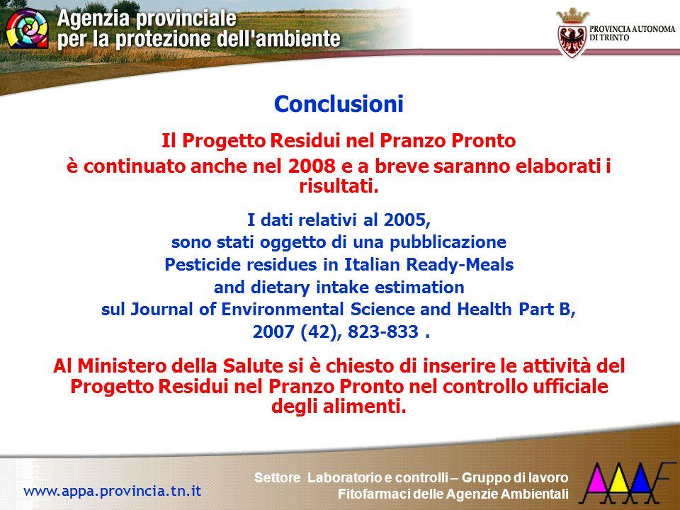 Settore Laboratorio e controlli – Gruppo di lavoro Fitofarmaci delle Agenzie Ambientali www.appa.provincia.tn.it Conclusioni Il Progetto Residui nel P
