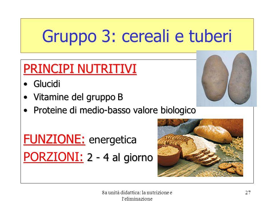 8a unità didattica: la nutrizione e l'eliminazione 27 Gruppo 3: cereali e tuberi PRINCIPI NUTRITIVI GlucidiGlucidi Vitamine del gruppo BVitamine del g