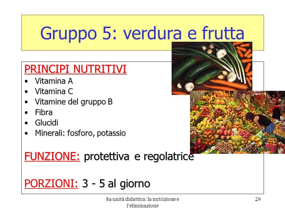 8a unità didattica: la nutrizione e l'eliminazione 29 Gruppo 5: verdura e frutta PRINCIPI NUTRITIVI Vitamina AVitamina A Vitamina CVitamina C Vitamine