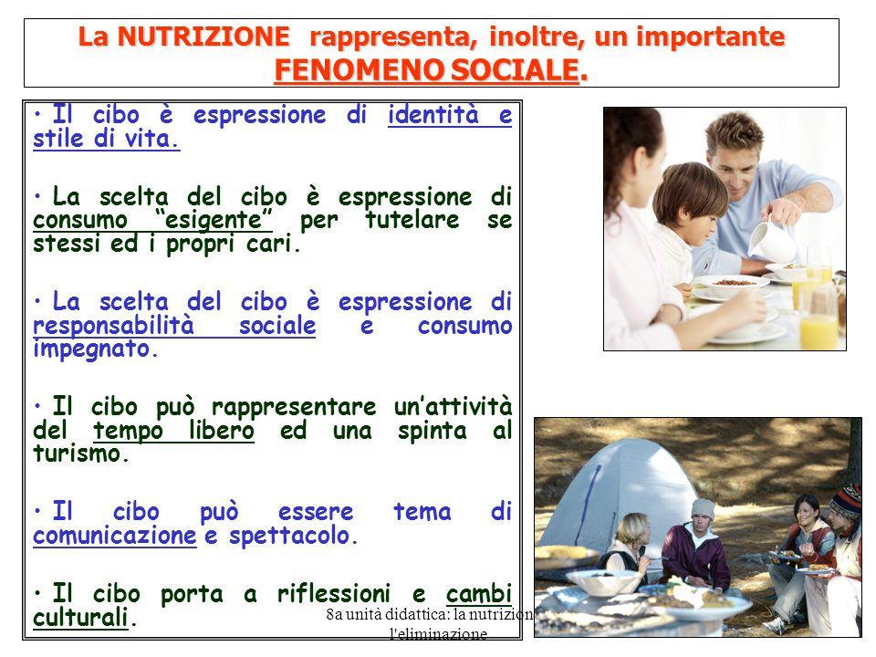 8a unità didattica: la nutrizione e l'eliminazione 3 La NUTRIZIONE rappresenta, inoltre, un importante FENOMENO SOCIALE. Il cibo è espressione di iden