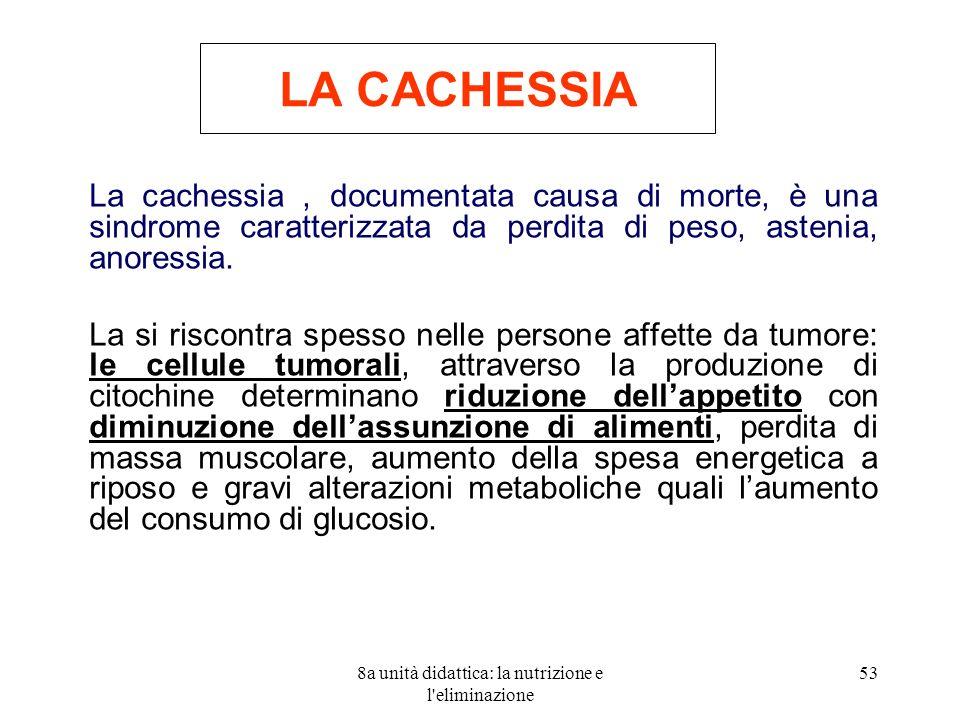 8a unità didattica: la nutrizione e l'eliminazione 53 LA CACHESSIA La cachessia, documentata causa di morte, è una sindrome caratterizzata da perdita