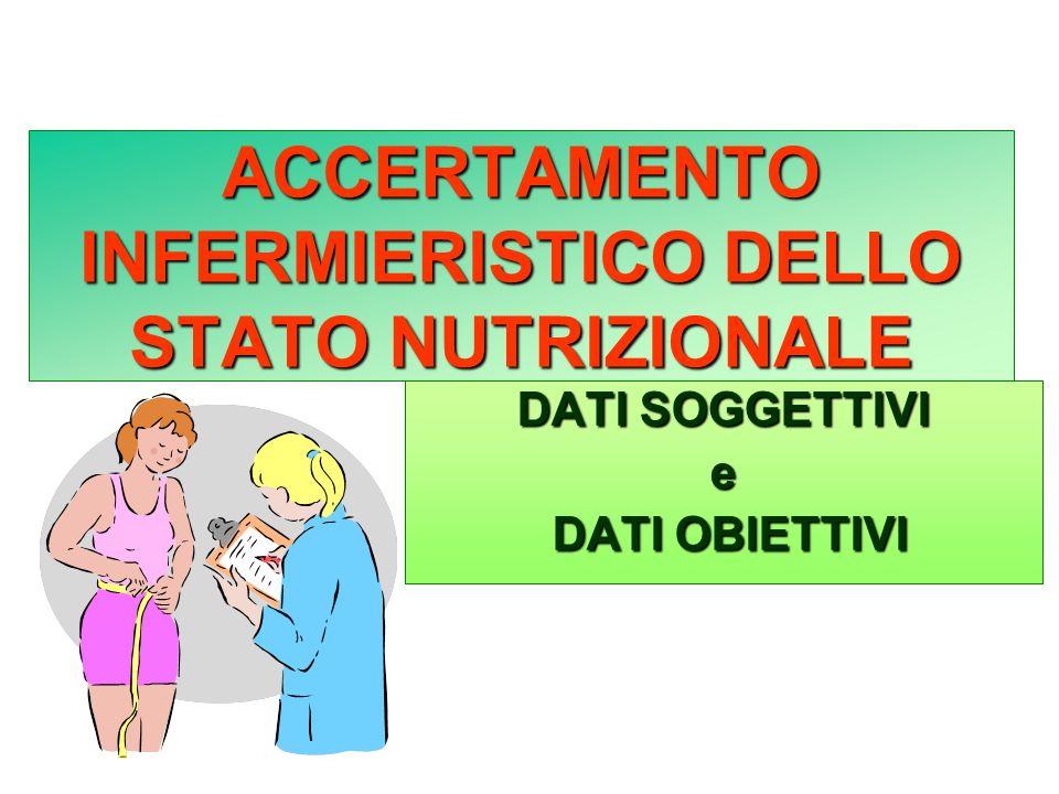 ACCERTAMENTO INFERMIERISTICO DELLO STATO NUTRIZIONALE DATI SOGGETTIVI e DATI OBIETTIVI DATI OBIETTIVI