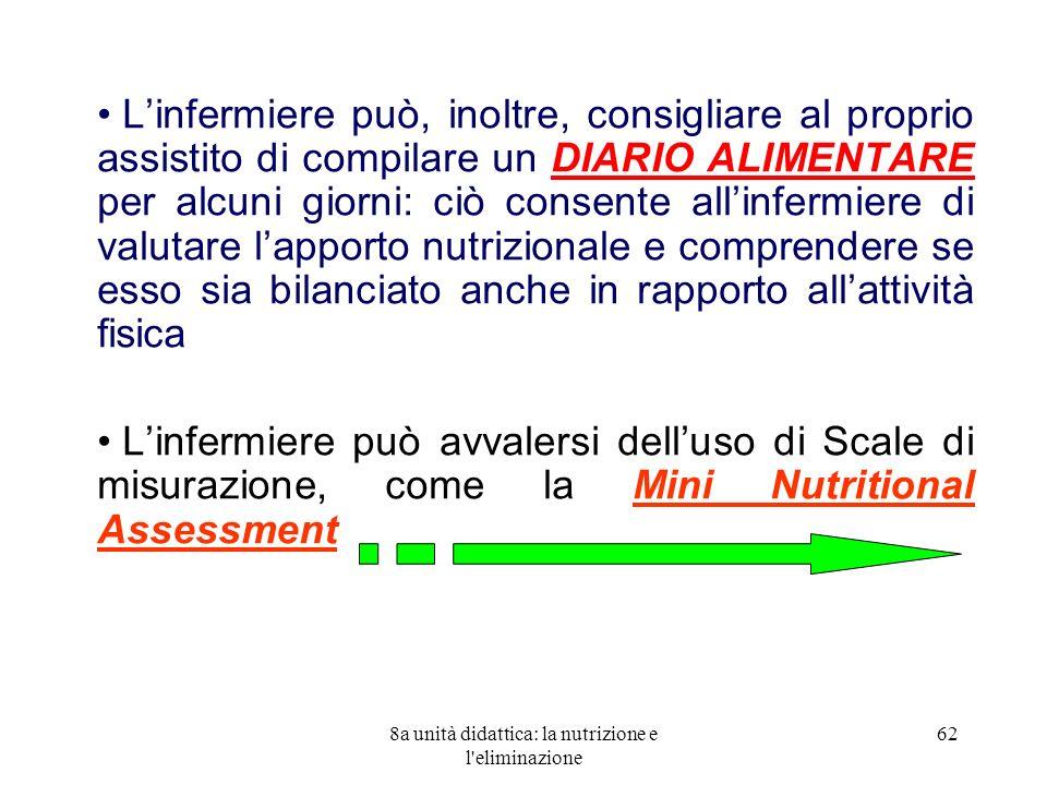 8a unità didattica: la nutrizione e l'eliminazione 62 Linfermiere può, inoltre, consigliare al proprio assistito di compilare un DIARIO ALIMENTARE per