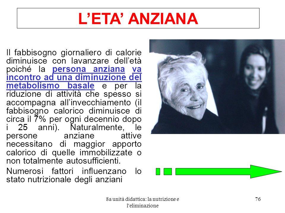8a unità didattica: la nutrizione e l'eliminazione 76 Il fabbisogno giornaliero di calorie diminuisce con lavanzare delletà poiché la persona anziana