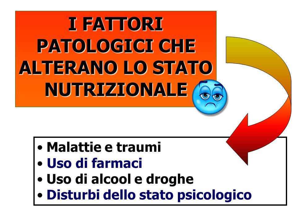I FATTORI PATOLOGICI CHE ALTERANO LO STATO NUTRIZIONALE Malattie e traumi Uso di farmaci Uso di alcool e droghe Disturbi dello stato psicologico