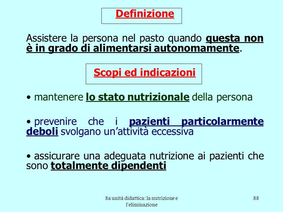 8a unità didattica: la nutrizione e l'eliminazione 88 Definizione Assistere la persona nel pasto quando questa non è in grado di alimentarsi autonomam