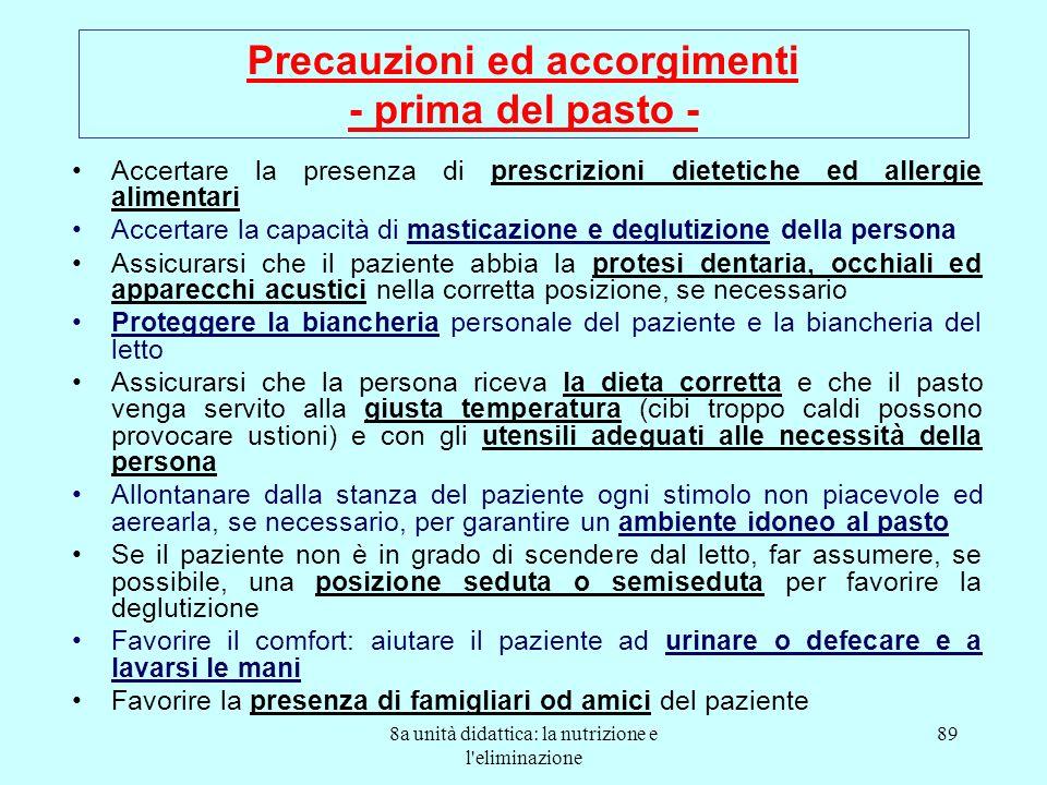 8a unità didattica: la nutrizione e l'eliminazione 89 Precauzioni ed accorgimenti - prima del pasto - Accertare la presenza di prescrizioni dietetiche