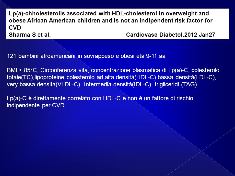 Lp(a)-chholesterolis associated with HDL-cholesterol in overweight and obese African American children and is not an indipendent risk factor for CVD Sharma S et al.