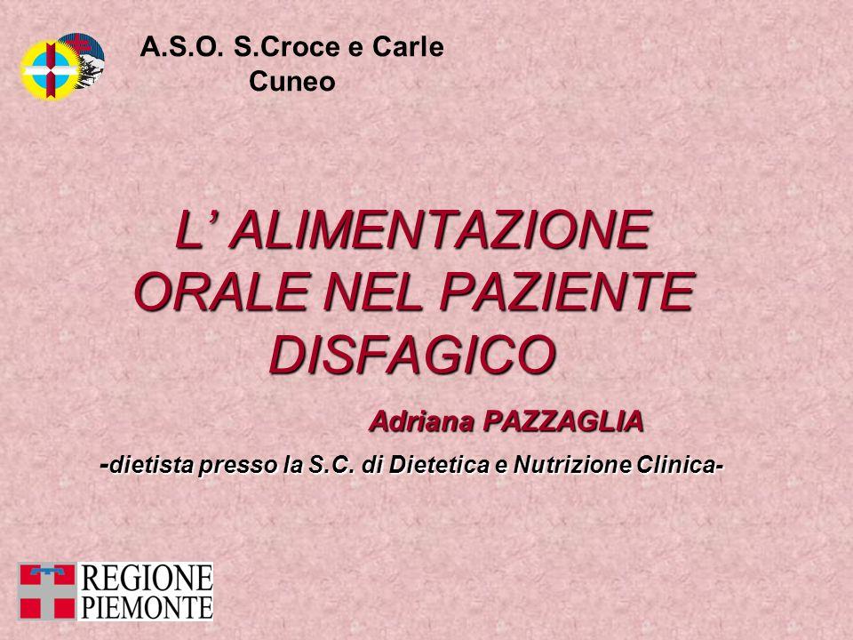 L ALIMENTAZIONE ORALE NEL PAZIENTE DISFAGICO Adriana PAZZAGLIA Adriana PAZZAGLIA - dietista presso la S.C. di Dietetica e Nutrizione Clinica- A.S.O. S