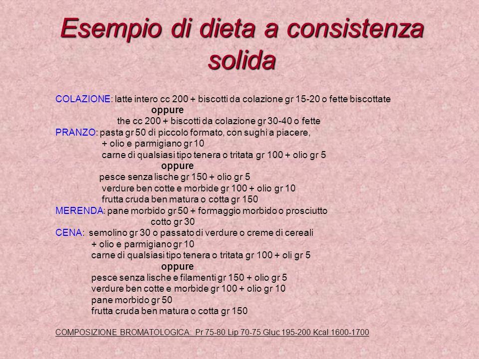 Esempio di dieta a consistenza solida COLAZIONE: latte intero cc 200 + biscotti da colazione gr 15-20 o fette biscottate oppure the cc 200 + biscotti