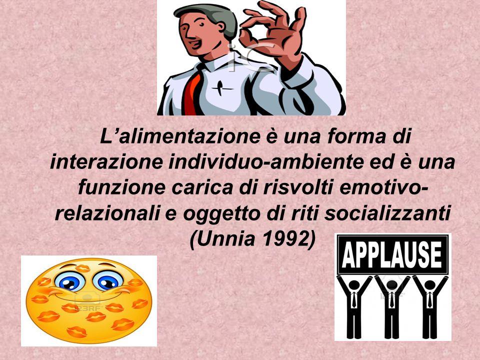 Lalimentazione è una forma di interazione individuo-ambiente ed è una funzione carica di risvolti emotivo- relazionali e oggetto di riti socializzanti