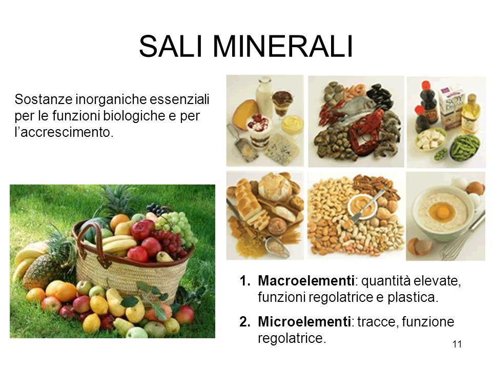 11 SALI MINERALI Sostanze inorganiche essenziali per le funzioni biologiche e per laccrescimento.