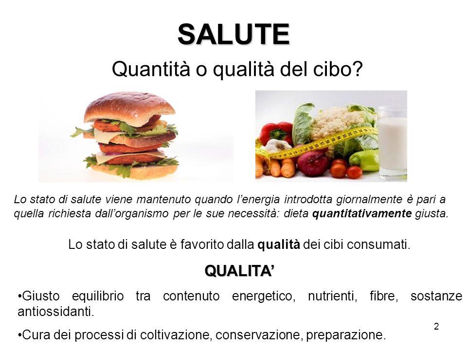 2 SALUTE Quantità o qualità del cibo.