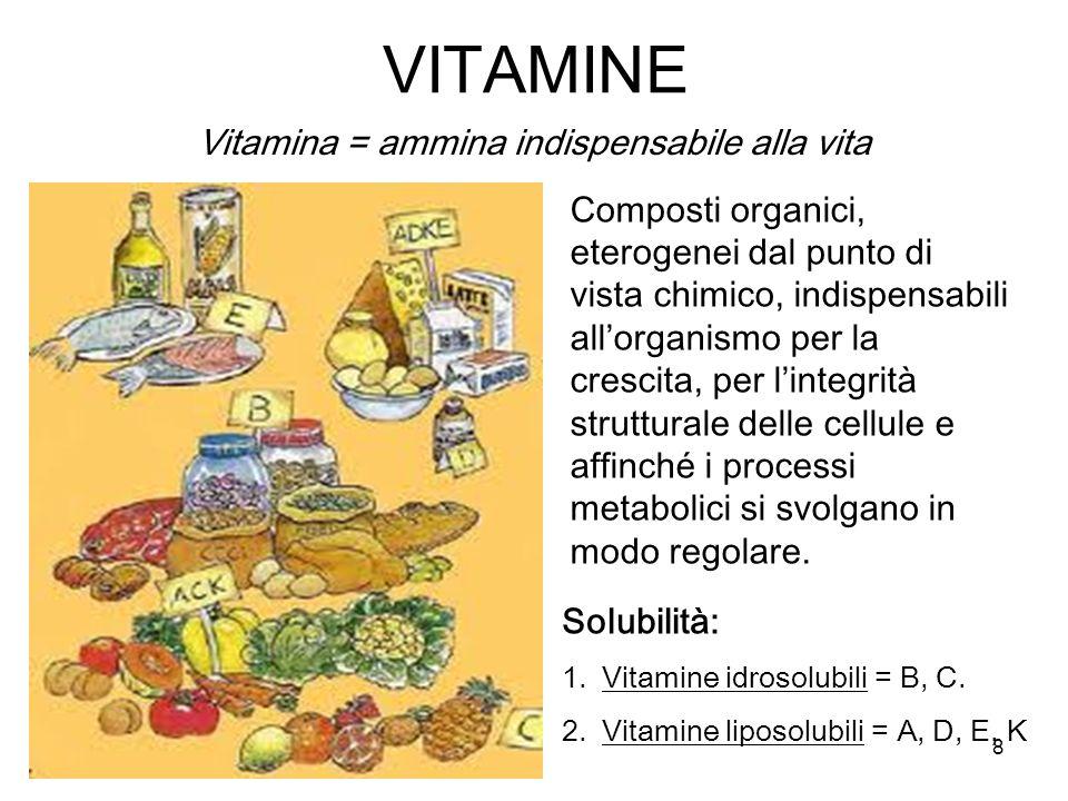 8 VITAMINE Vitamina = ammina indispensabile alla vita Composti organici, eterogenei dal punto di vista chimico, indispensabili allorganismo per la crescita, per lintegrità strutturale delle cellule e affinché i processi metabolici si svolgano in modo regolare.