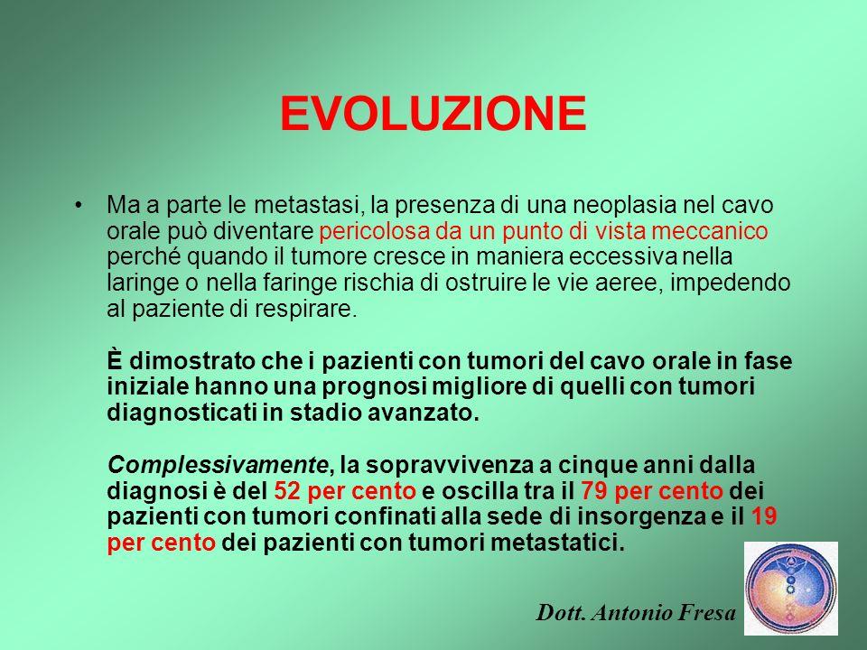 EVOLUZIONE Come per la maggior parte dei tumori, la guarigione dipende dalle condizioni generali di salute, dalla sede e dalla diffusione ai linfonodi