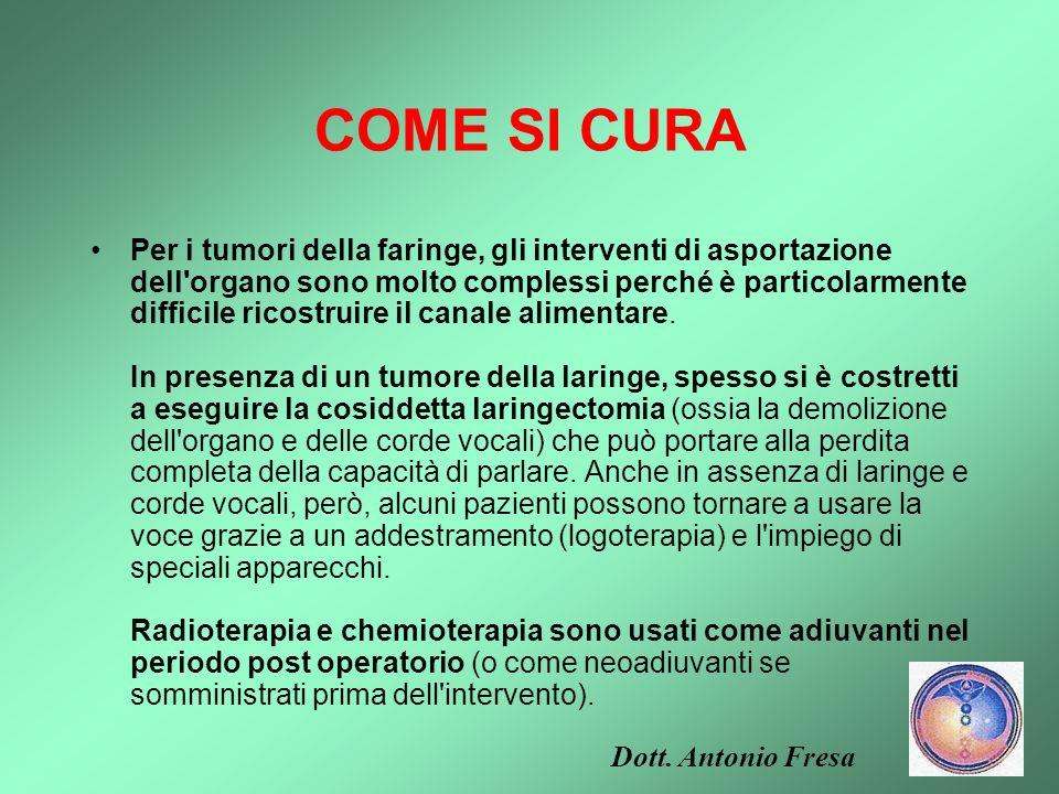 COME SI CURA I tumori del cavo orale, della faringe e della laringe possono essere curati con l'asportazione chirurgica del tumore (quando è circoscri