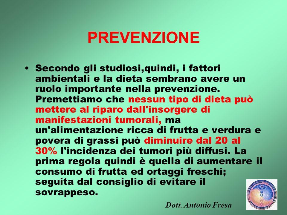 Ruolo della nutrizione nella prevenzione dei tumori 5. Riduzione totale dell'assunzione di grassi. Tra tutti i fattori dietetici con possibili effetti