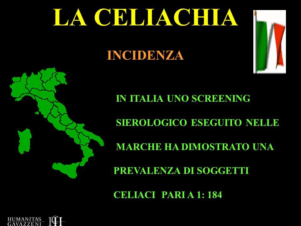 LA CELIACHIA INCIDENZA IN ITALIA UNO SCREENING SIEROLOGICO ESEGUITO NELLE MARCHE HA DIMOSTRATO UNA PREVALENZA DI SOGGETTI CELIACI PARI A 1: 184