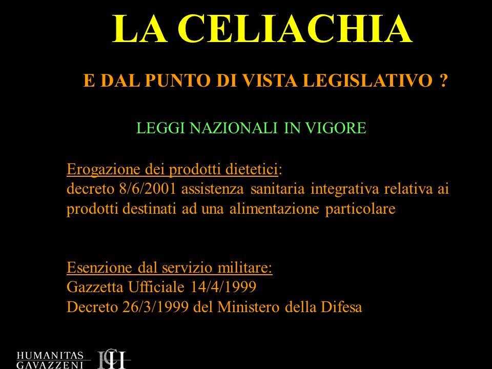 LA CELIACHIA E DAL PUNTO DI VISTA LEGISLATIVO ? LEGGI NAZIONALI IN VIGORE Erogazione dei prodotti dietetici: decreto 8/6/2001 assistenza sanitaria int