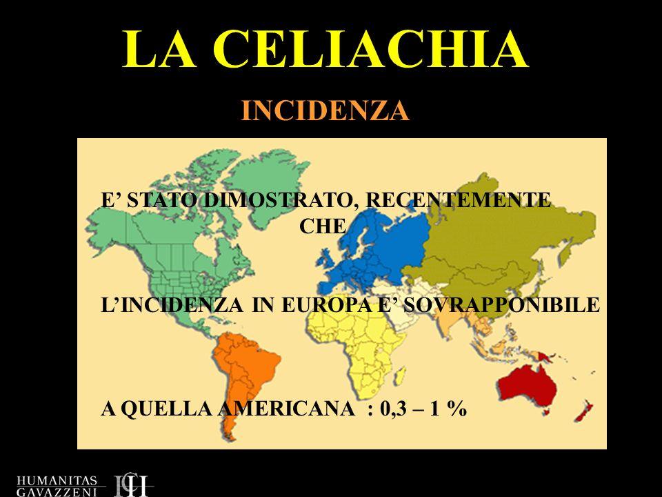 LA CELIACHIA INCIDENZA A QUELLA AMERICANA : 0,3 – 1 % E STATO DIMOSTRATO, RECENTEMENTE CHE LINCIDENZA IN EUROPA E SOVRAPPONIBILE
