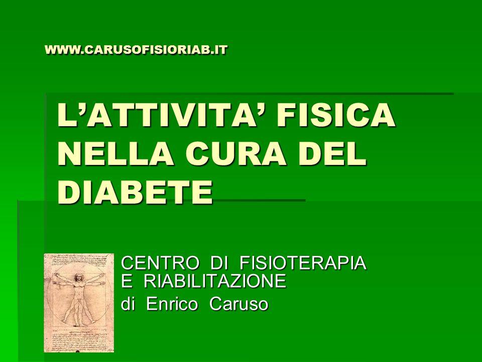 LATTIVITA FISICA NELLA CURA DEL DIABETE CENTRO DI FISIOTERAPIA E RIABILITAZIONE di Enrico Caruso WWW.CARUSOFISIORIAB.IT