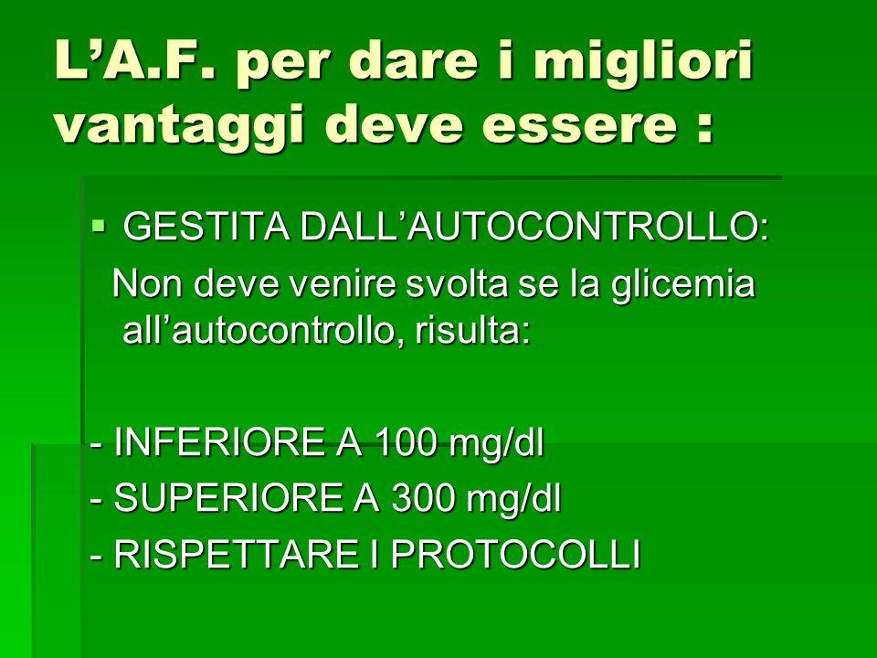 GESTITA DALLAUTOCONTROLLO: GESTITA DALLAUTOCONTROLLO: Non deve venire svolta se la glicemia allautocontrollo, risulta: Non deve venire svolta se la gl