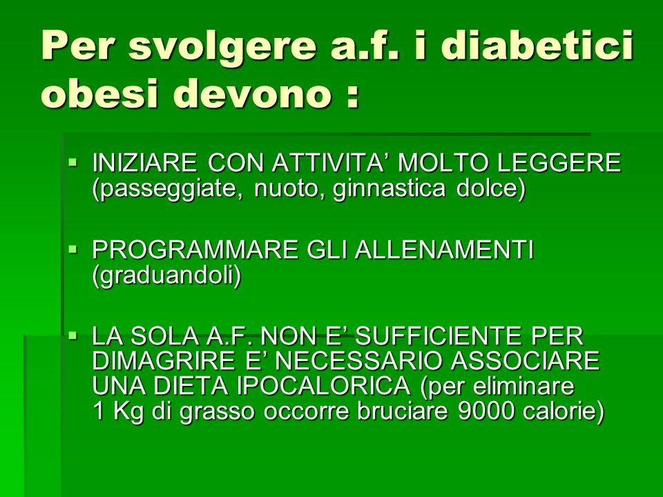 Per svolgere a.f. i diabetici obesi devono : INIZIARE CON ATTIVITA MOLTO LEGGERE (passeggiate, nuoto, ginnastica dolce) INIZIARE CON ATTIVITA MOLTO LE
