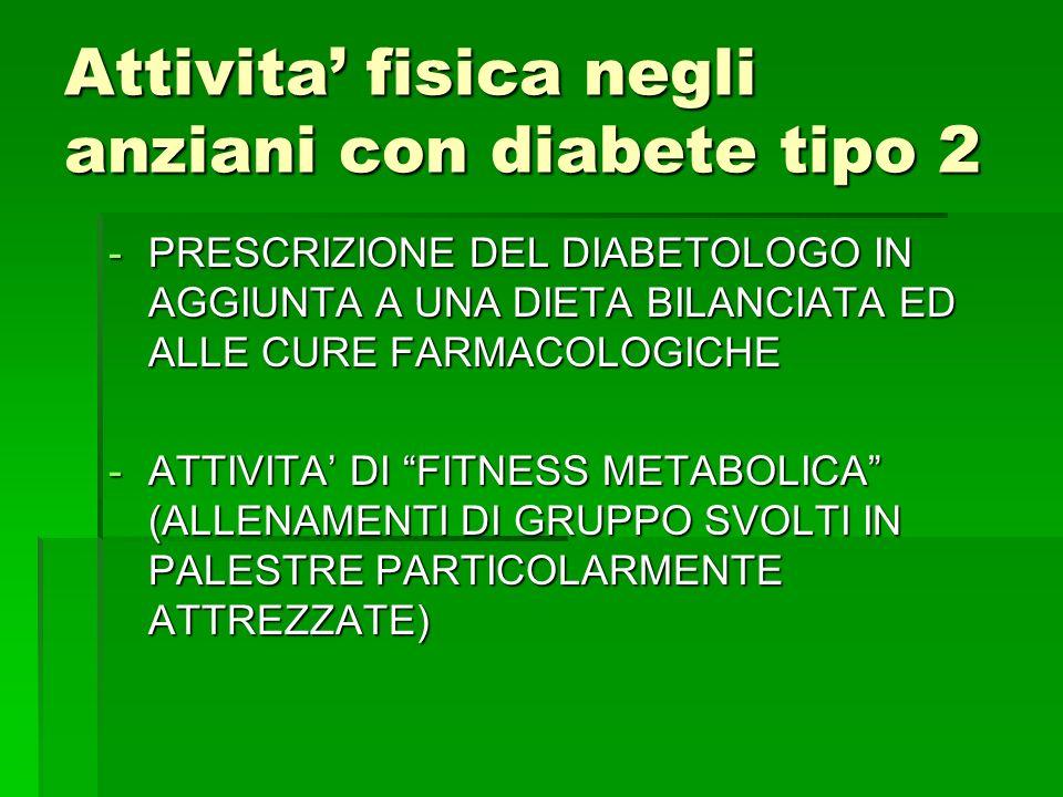 Attivita fisica negli anziani con diabete tipo 2 -PRESCRIZIONE DEL DIABETOLOGO IN AGGIUNTA A UNA DIETA BILANCIATA ED ALLE CURE FARMACOLOGICHE -ATTIVIT