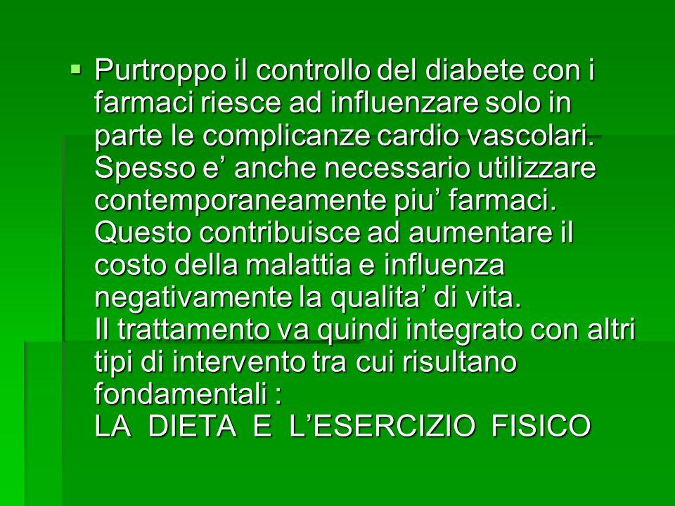 Purtroppo il controllo del diabete con i farmaci riesce ad influenzare solo in parte le complicanze cardio vascolari. Spesso e anche necessario utiliz
