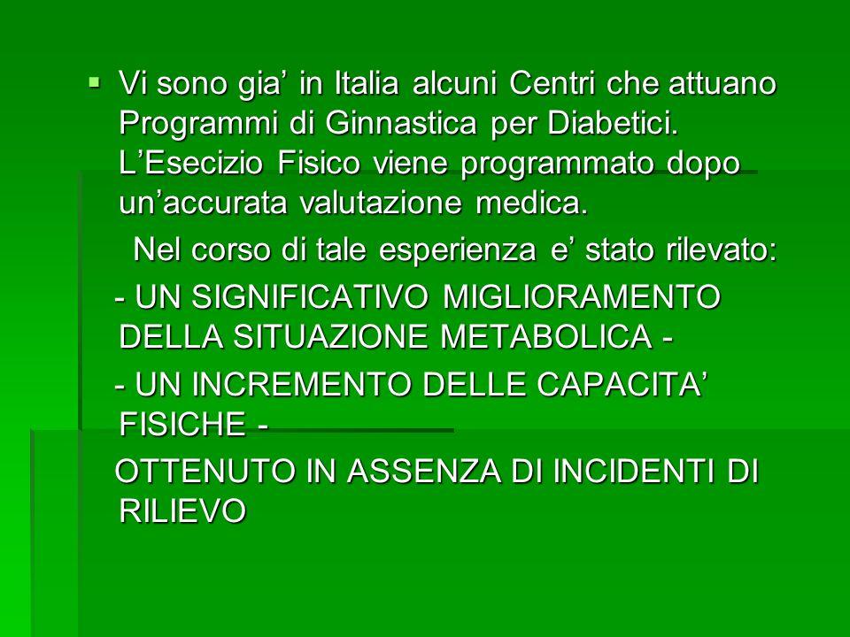 Vi sono gia in Italia alcuni Centri che attuano Programmi di Ginnastica per Diabetici. LEsecizio Fisico viene programmato dopo unaccurata valutazione