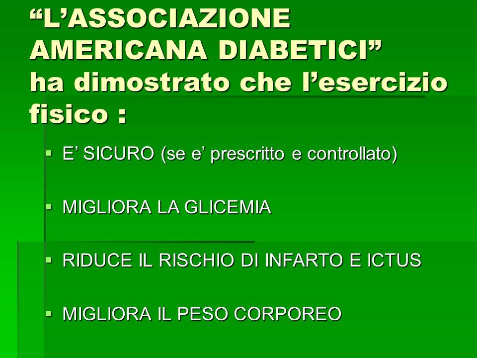 LASSOCIAZIONE AMERICANA DIABETICI ha dimostrato che lesercizio fisico : E SICURO (se e prescritto e controllato) E SICURO (se e prescritto e controllato) MIGLIORA LA GLICEMIA MIGLIORA LA GLICEMIA RIDUCE IL RISCHIO DI INFARTO E ICTUS RIDUCE IL RISCHIO DI INFARTO E ICTUS MIGLIORA IL PESO CORPOREO MIGLIORA IL PESO CORPOREO