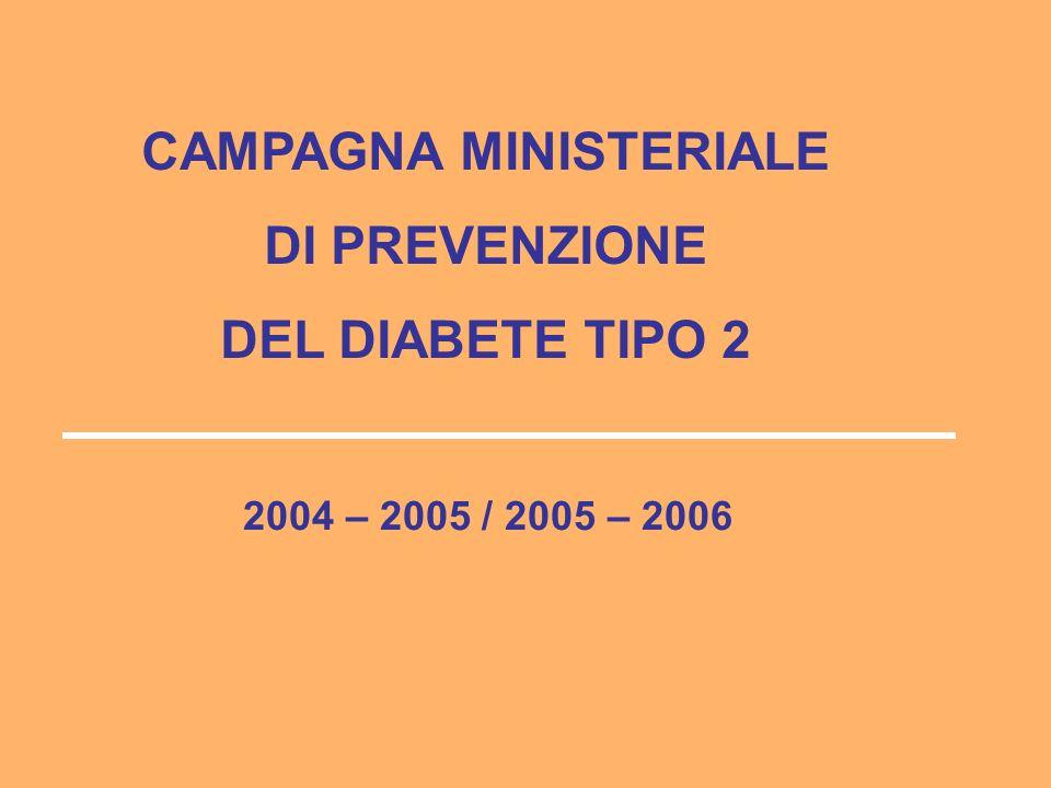 CAMPAGNA MINISTERIALE DI PREVENZIONE DEL DIABETE TIPO 2 2004 – 2005 / 2005 – 2006