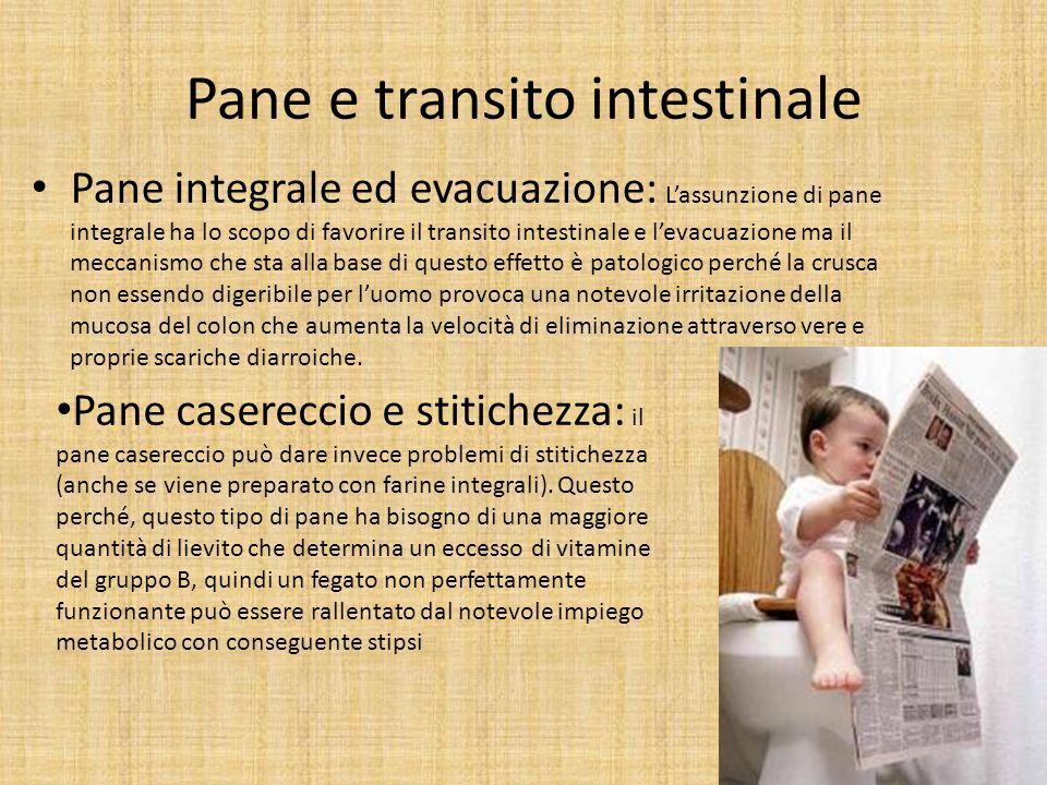 Pane e transito intestinale Pane integrale ed evacuazione: Lassunzione di pane integrale ha lo scopo di favorire il transito intestinale e levacuazion