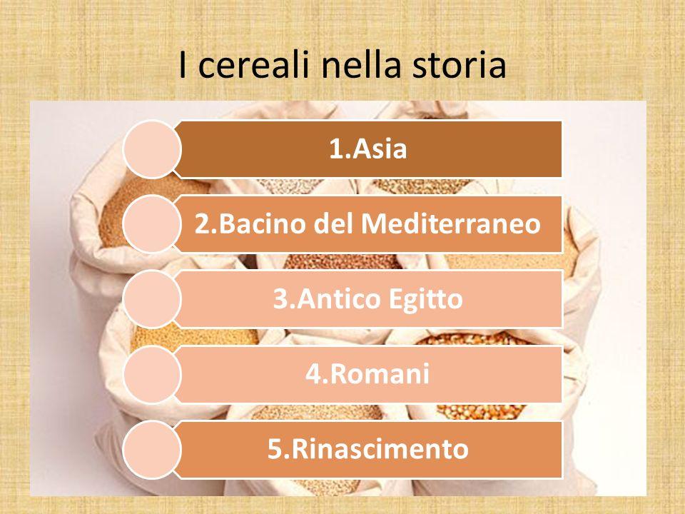 I cereali trovarono origine in Asia, dove crescevano spontanei, finche giunsero nel bacino del Mediterraneo.