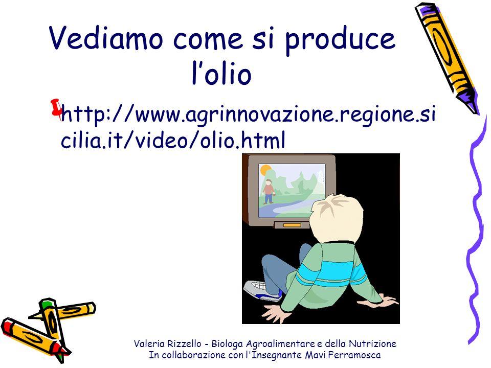 Valeria Rizzello - Biologa Agroalimentare e della Nutrizione In collaborazione con l'Insegnante Mavi Ferramosca Vediamo come si produce lolio http://w