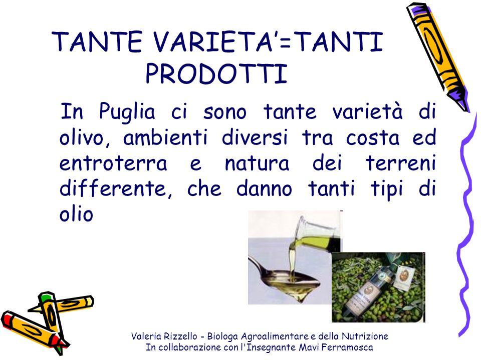 Valeria Rizzello - Biologa Agroalimentare e della Nutrizione In collaborazione con l'Insegnante Mavi Ferramosca TANTE VARIETA=TANTI PRODOTTI In Puglia