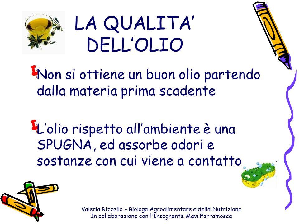 Valeria Rizzello - Biologa Agroalimentare e della Nutrizione In collaborazione con l'Insegnante Mavi Ferramosca LA QUALITA DELLOLIO Non si ottiene un
