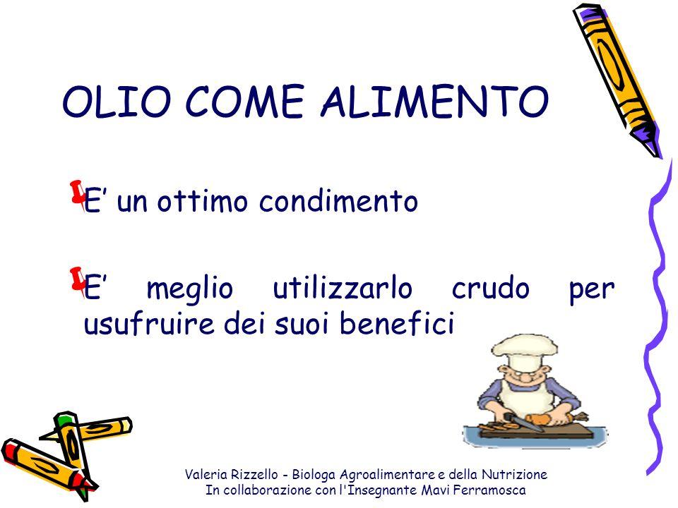 Valeria Rizzello - Biologa Agroalimentare e della Nutrizione In collaborazione con l'Insegnante Mavi Ferramosca OLIO COME ALIMENTO E un ottimo condime