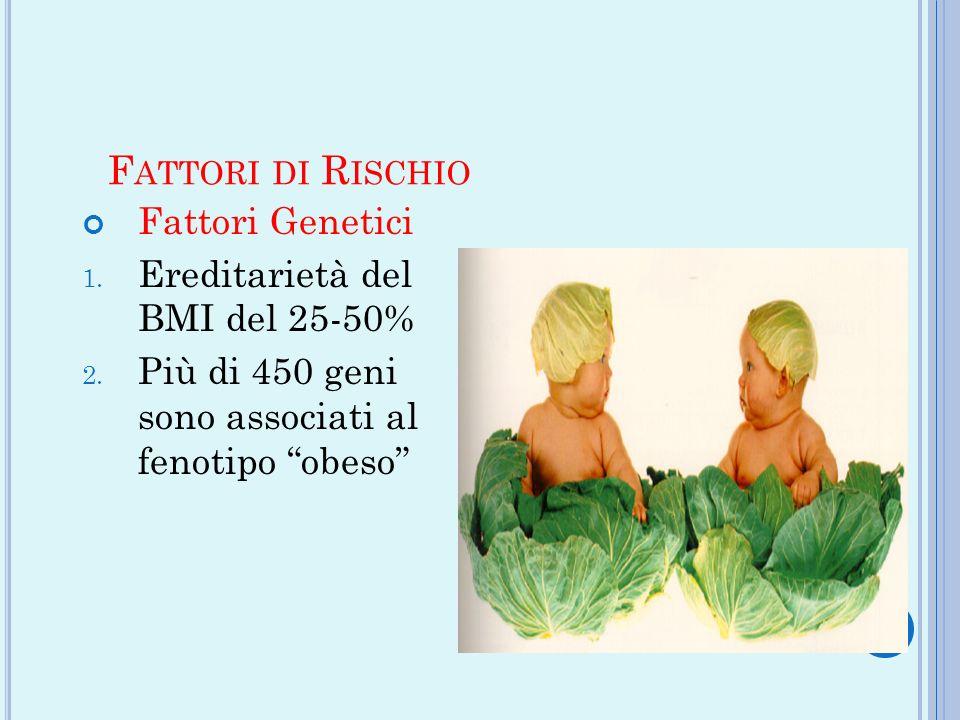 F ATTORI DI R ISCHIO Fattori Genetici 1. Ereditarietà del BMI del 25-50% 2. Più di 450 geni sono associati al fenotipo obeso