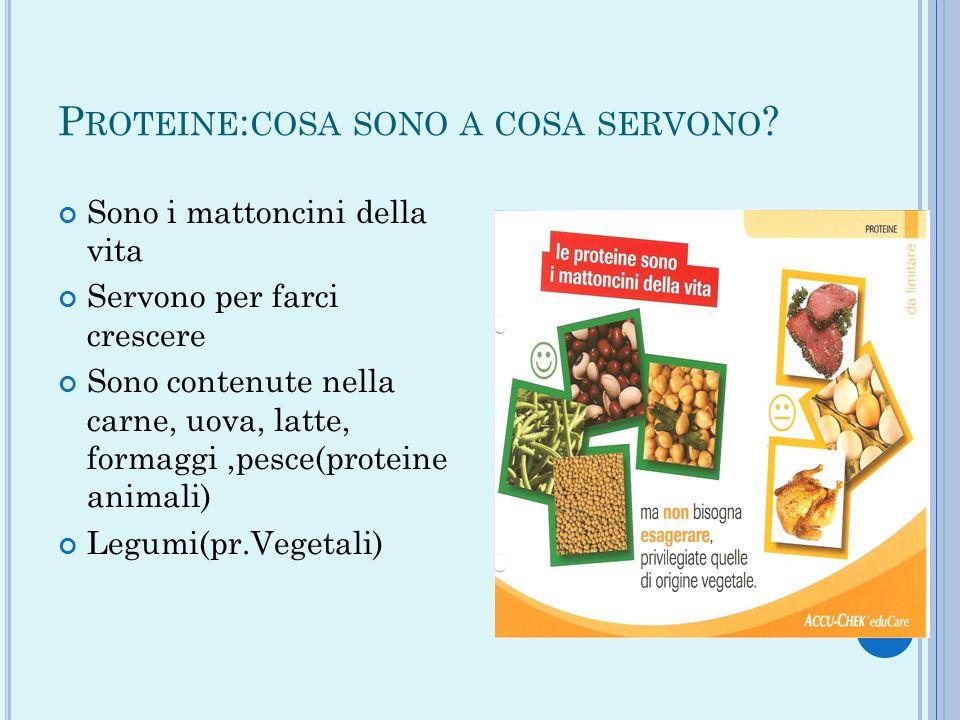 P ROTEINE : COSA SONO A COSA SERVONO ? Sono i mattoncini della vita Servono per farci crescere Sono contenute nella carne, uova, latte, formaggi,pesce