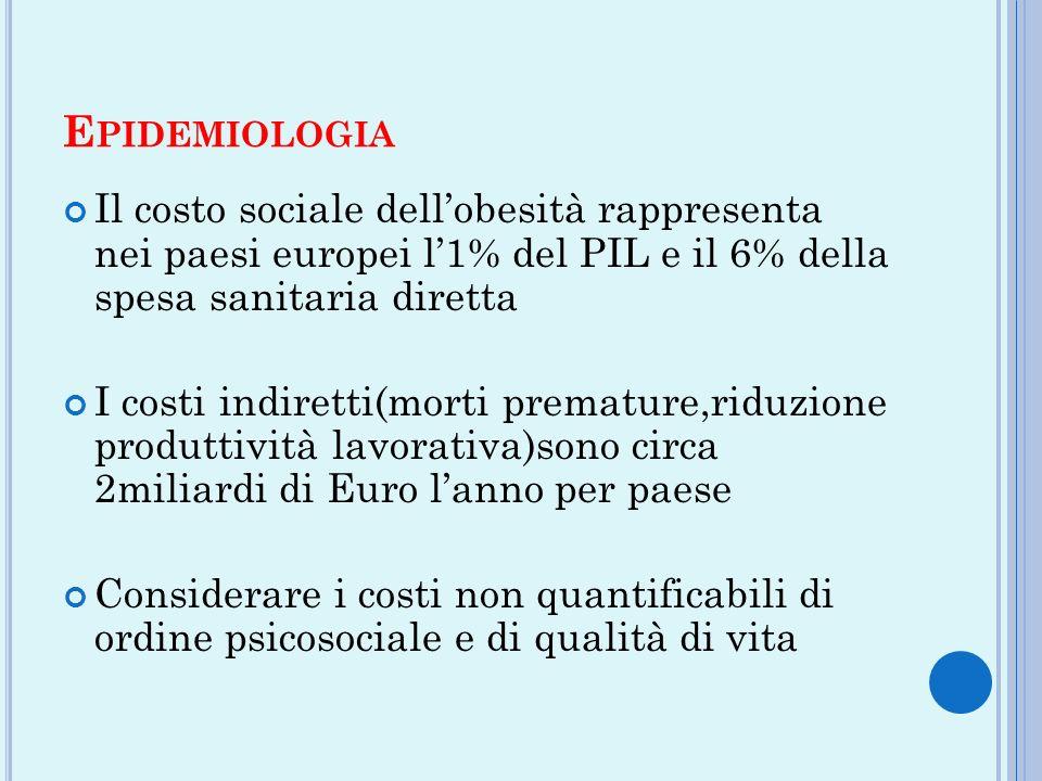 E PIDEMIOLOGIA Il costo sociale dellobesità rappresenta nei paesi europei l1% del PIL e il 6% della spesa sanitaria diretta I costi indiretti(morti pr