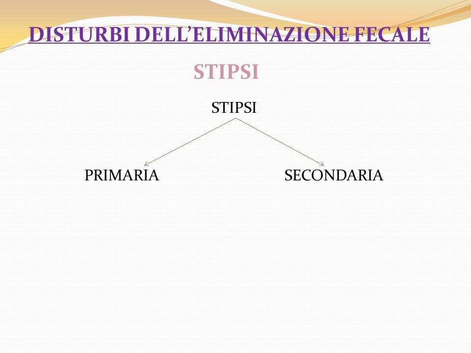 STIPSI PRIMARIA SECONDARIA DISTURBI DELLELIMINAZIONE FECALE STIPSI