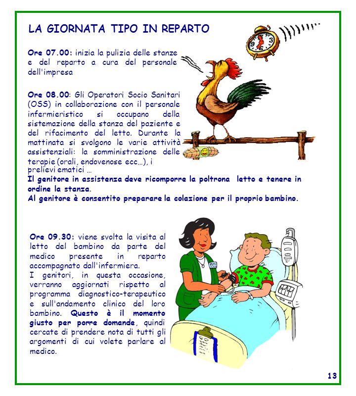 LA GIORNATA TIPO IN REPARTO Ore 08.00: Gli Operatori Socio Sanitari (OSS) in collaborazione con il personale infermieristico si occupano della sistema