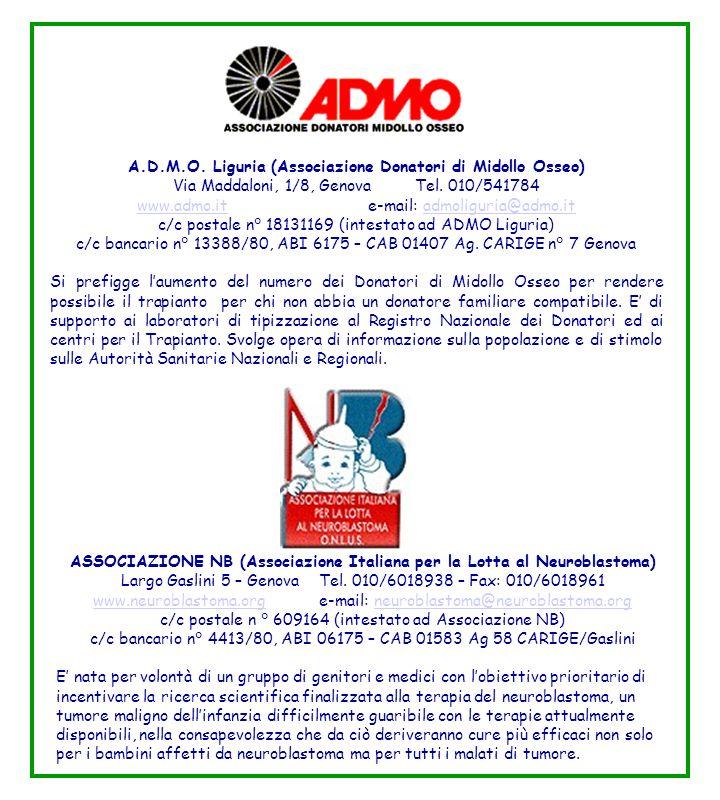 A.D.M.O. Liguria (Associazione Donatori di Midollo Osseo) Via Maddaloni, 1/8, Genova Tel. 010/541784 www.admo.itwww.admo.it e-mail: admoliguria@admo.i
